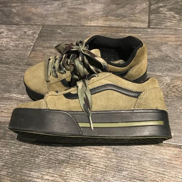 567f90f413b Vans - olive green platform shoes. M 5a6ff80250687cfae782be82